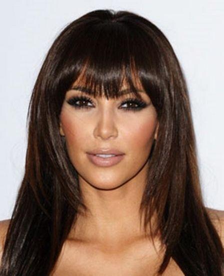 Kim-Kardashian de espessura-bangs