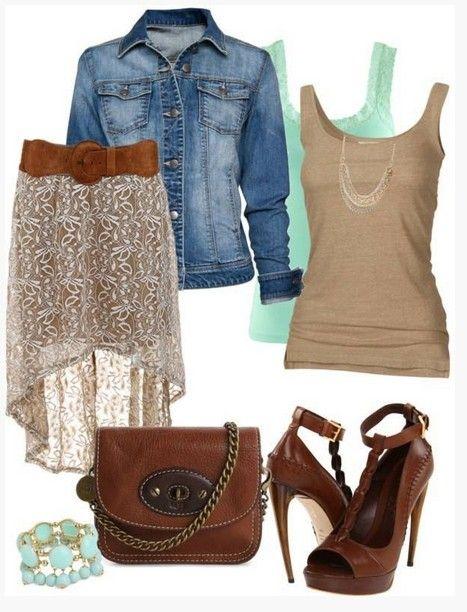 Brown Primavera Outfit, jaqueta jeans, vestido rabo de peixe e bombas marrom