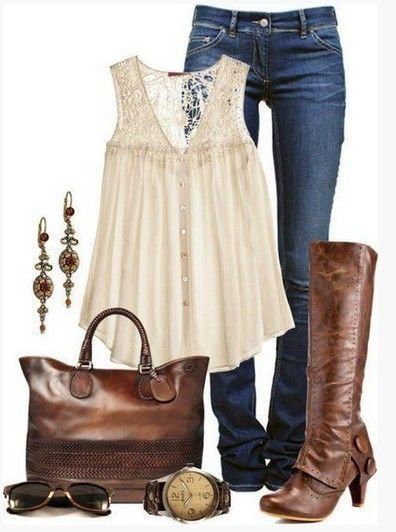 Brown Primavera Outfit, rosa top de renda bordado e botas de cano alto marrom