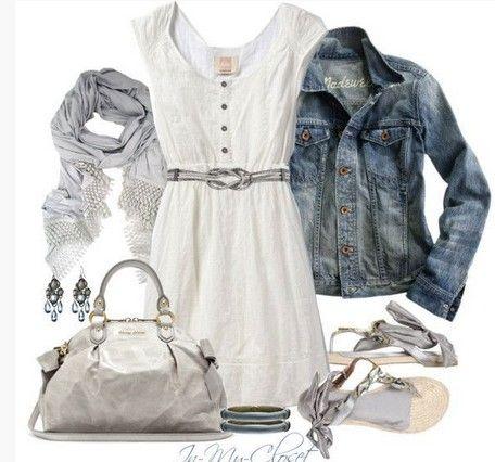 White Spring Outfit, jaqueta jeans, vestido branco e sandálias