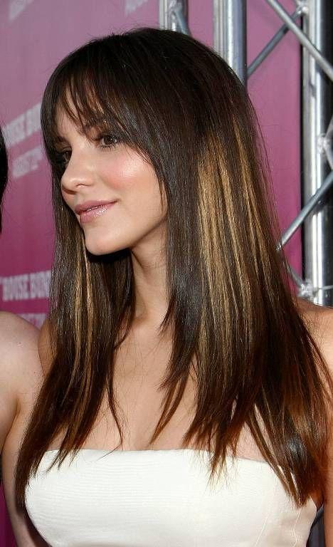 10 Penteados longos fabulosas com franja e camadas
