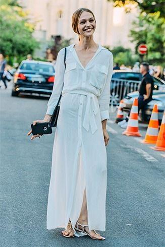 Branco vestido de camisa para o verão