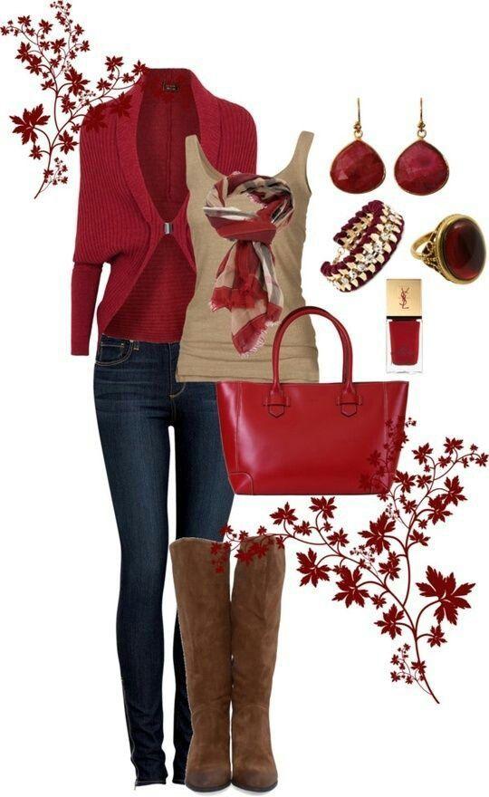 Estilo de roupa vermelha para o Outono 2016