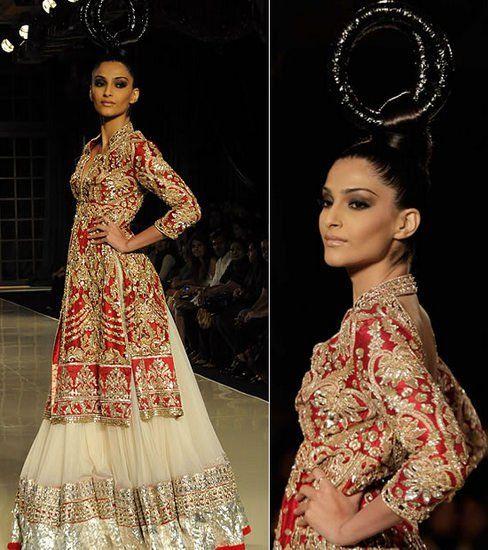 Branco vermelho Kapoor Sonam nupcial lehenga