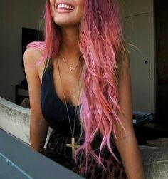 Longo Penteado Layered de-rosa brilhante