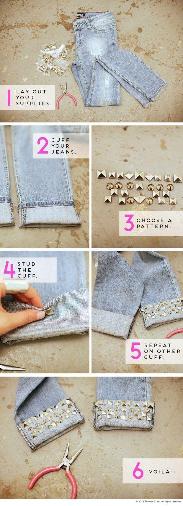 Como atualizar o seu velho jeans: punhos de jeans diy