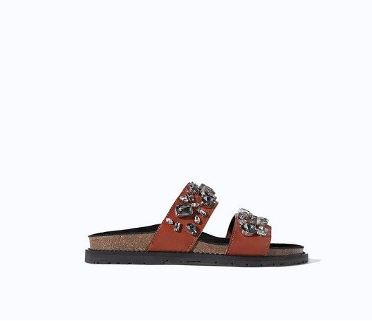 Zara couro Jeweled Piscina Slides (US $ 100)