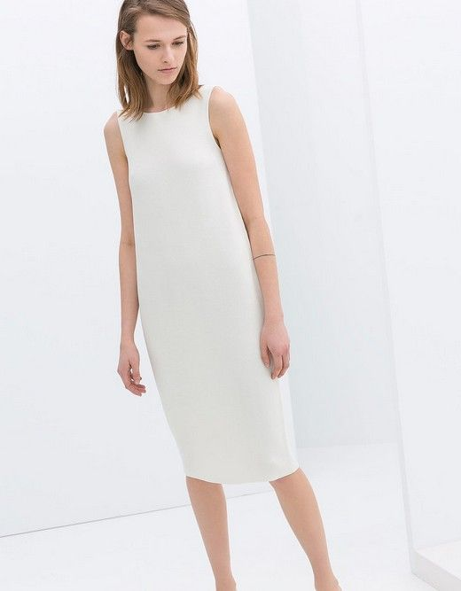 Zara mangas do vestido branco Shift (US $ 80)