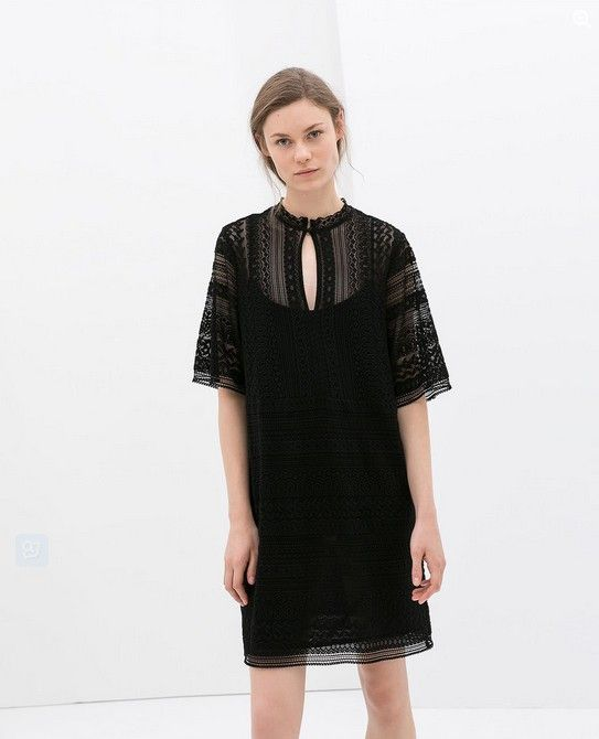 Zara Black Dress Crochet (US $ 80)