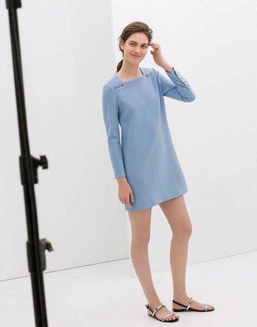 Zara manga longa vestido azul com botões (US $ 100)