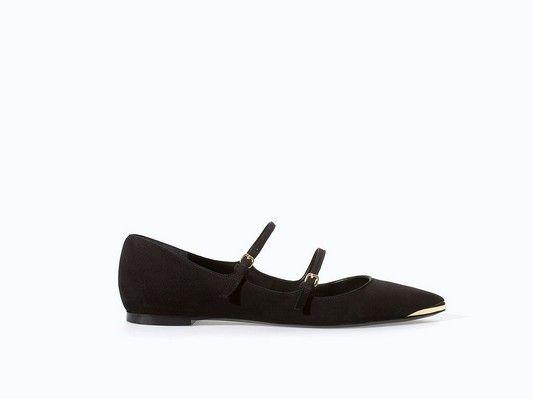 Zara duplo cinta preta Ballet Flats com ponta de ouro (US $ 60)