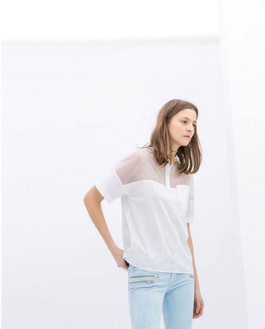 Zara Branco Sheer-Neck Organza Polo (US $ 60)