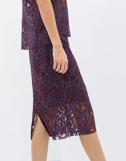 Zara Lace Pencil Skirt (US $ 80)