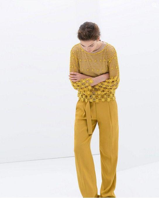 Zara amarelo bordado Blusa de algodão (US $ 80)