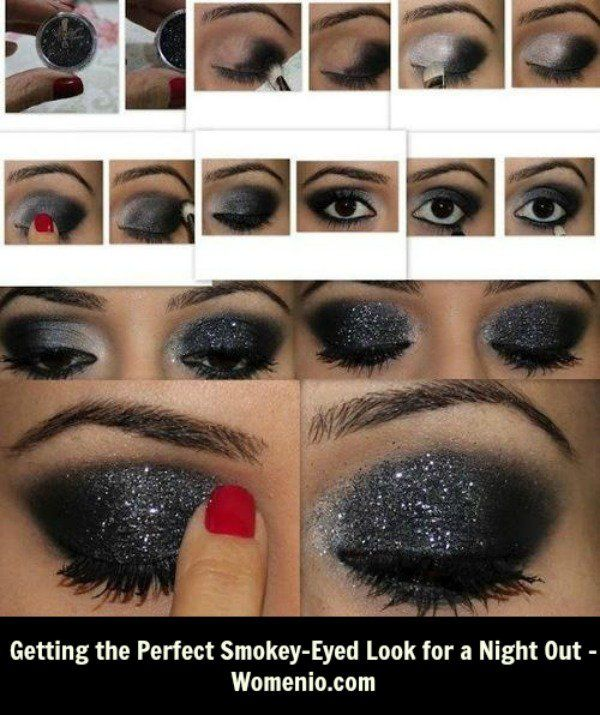 Passo a passo Preto Shimmer Smoky Eye Makeup Tutorial
