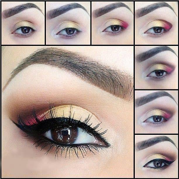 Tutorial de maquiagem dourada e vermelha do olho