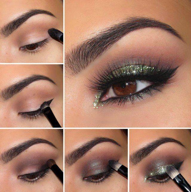 Smoky Tutorial de maquiagem dos olhos com o Green Shimmer Sombra