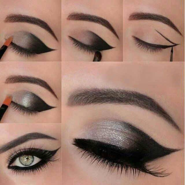 Lindo preto e olhos prata Tutorial de maquiagem