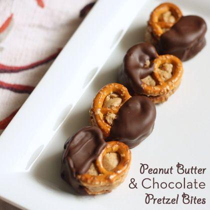 Manteiga de amendoim e chocolate pretzel mordidas