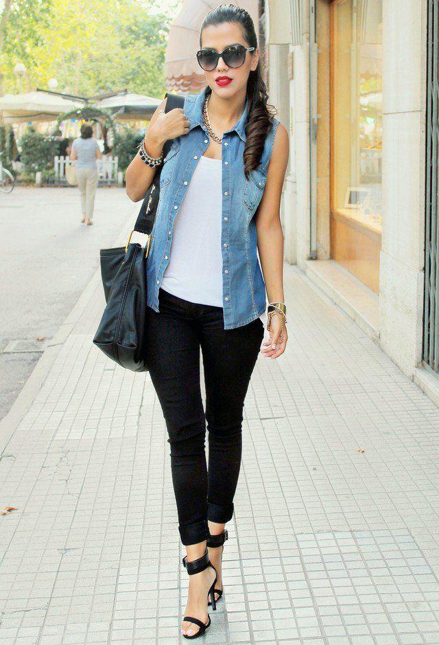 Idea Outfit simples com Denim Vest