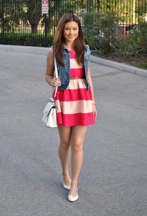 Stripe Idea Outfit com Denim Vest