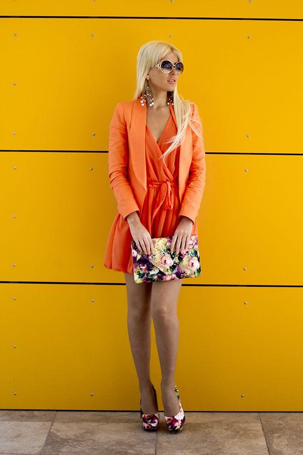IDEIAS equipamento monocromático - laranja vestido wrap