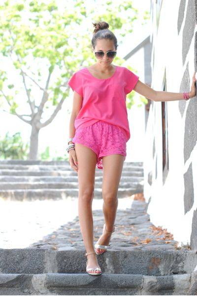 IDEIAS equipamento monocromático - Shorts rosa Lacey