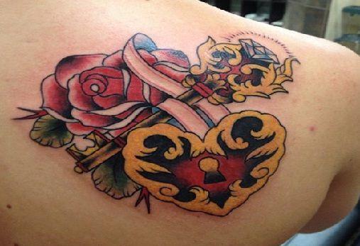 14. Fechamento e chave do coração dos tatuagens
