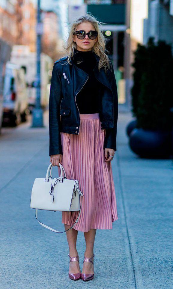 black-casaco-e-rosa metálico-saia via