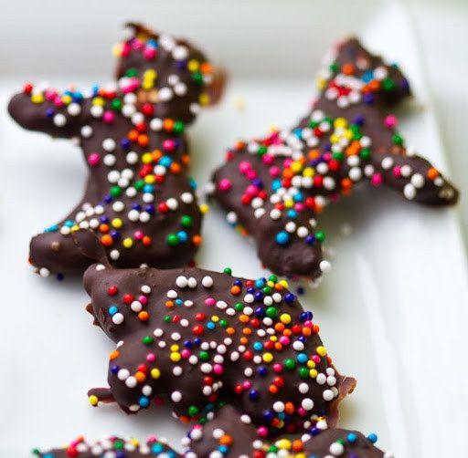 Biscoitos animais cobertos com chocolate