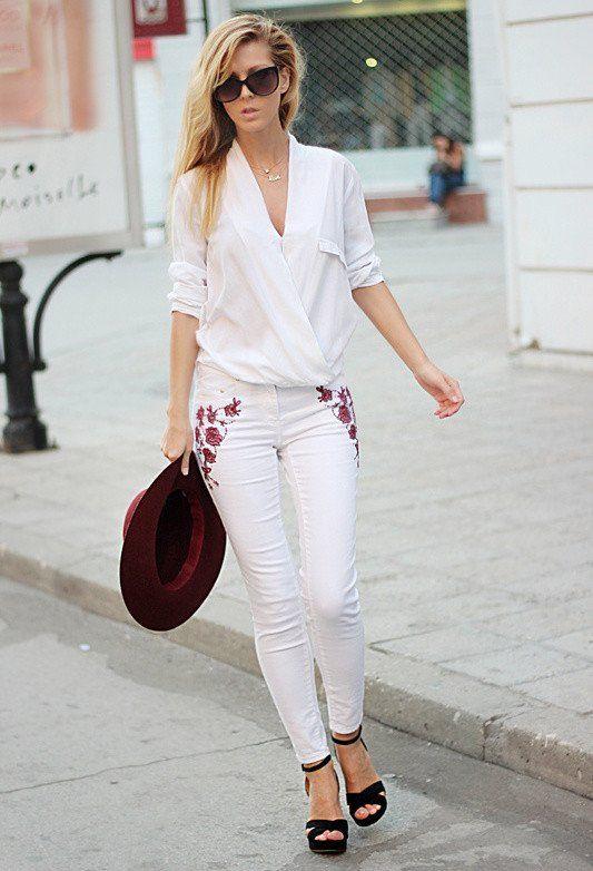 Idea Outfit na moda com calças de brim brancas