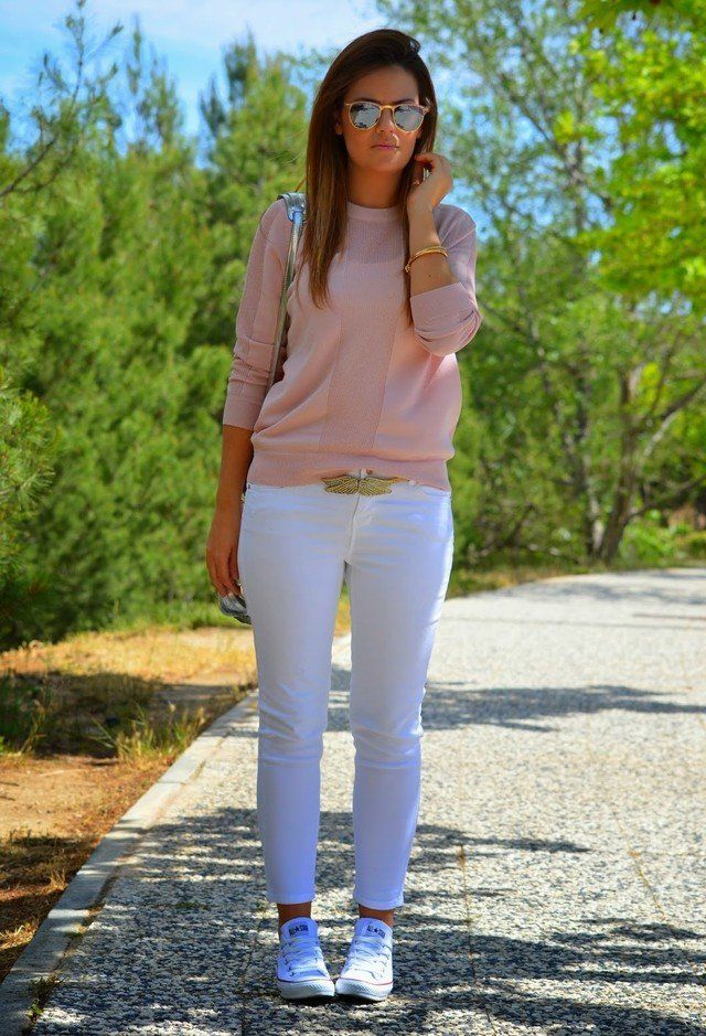 Branca Jeans Idea Outfit para a Primavera