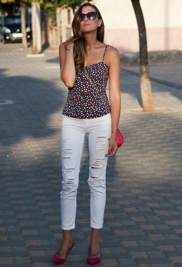 Floral Top e rasgado Branca Jeans
