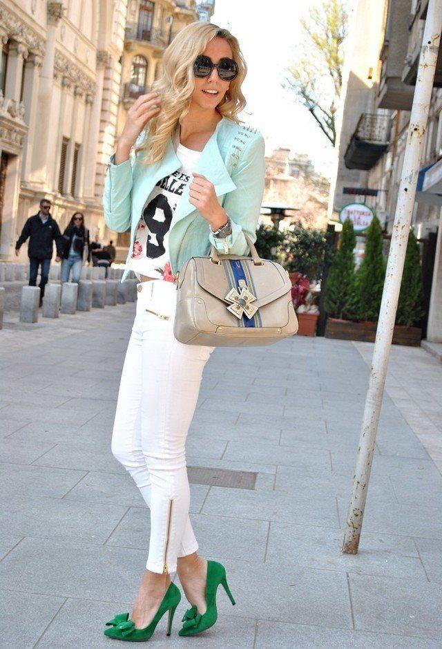 Branca Jeans Idea Outfit com Pastel Jacket