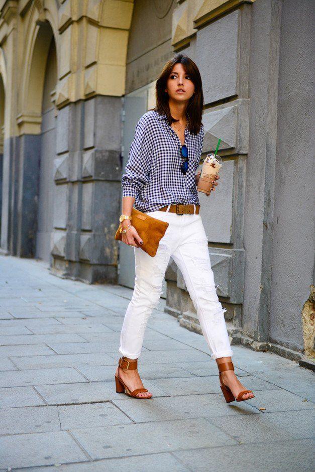 Branca Jeans Idea Outfit com manta Blusa