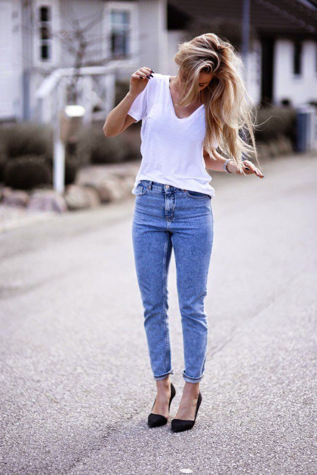 Branca T-shirt com Jeans