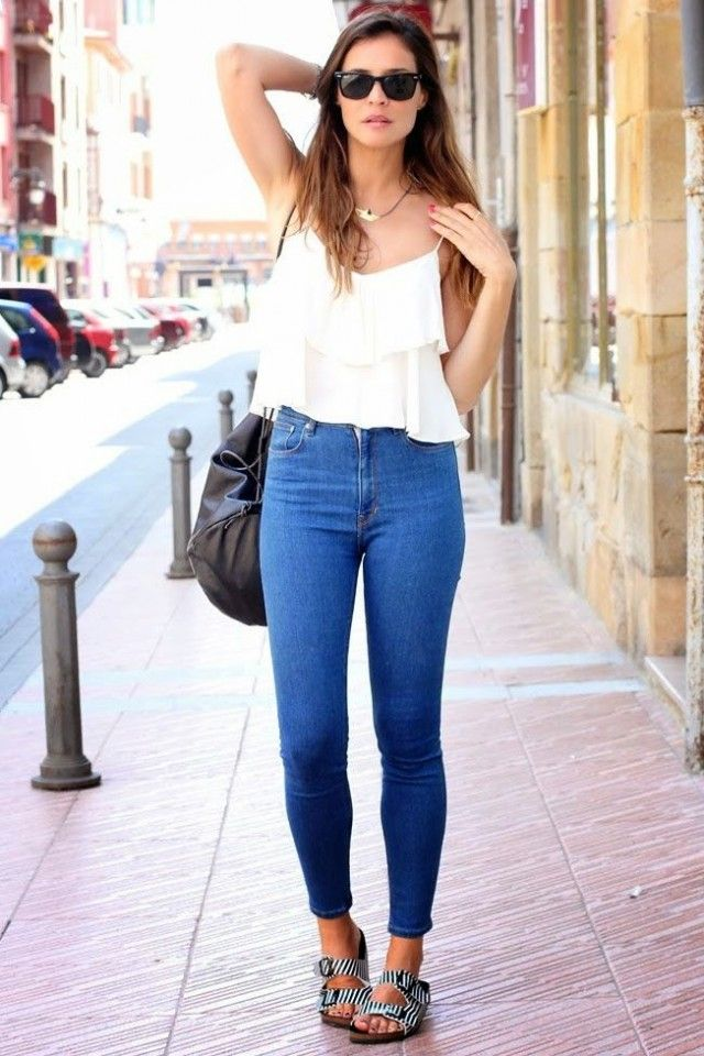 Top branco com Jeans