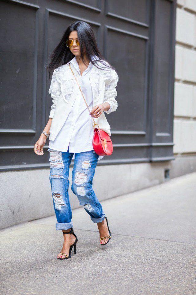 Brasão com jeans rasgado Branco