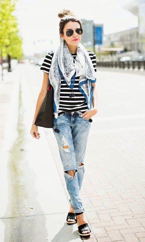 Striped T-shirt com o namorado Jeans