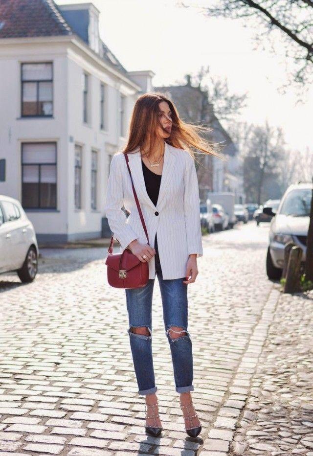 Listrado Blazer com jeans rasgado