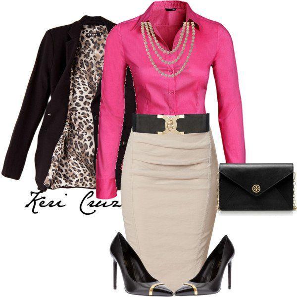 Bonita camisa-de-rosa e bege Pencil Skirt