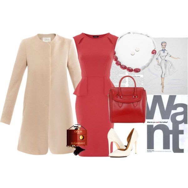 Lindo vestido vermelho e no revestimento bege