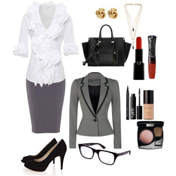 Camisa branca e cinza Pencil Skirt