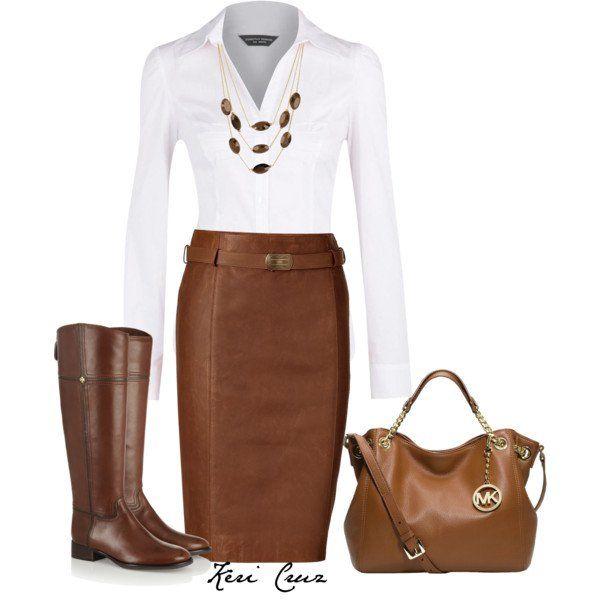 Camisa branca e Brown Leather Skirt