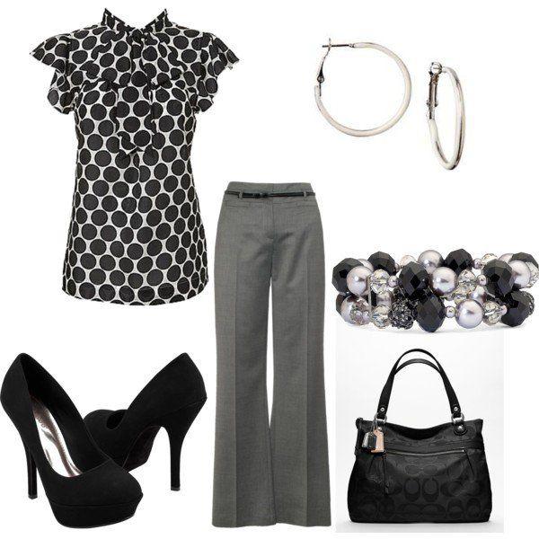 Polka Dot camisa e calças cinzentas