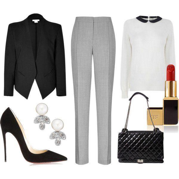 Branco linda camisa e calças cinzentas