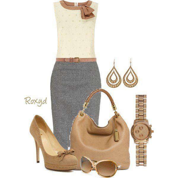 Bege Top com cinza Pencil Skirt