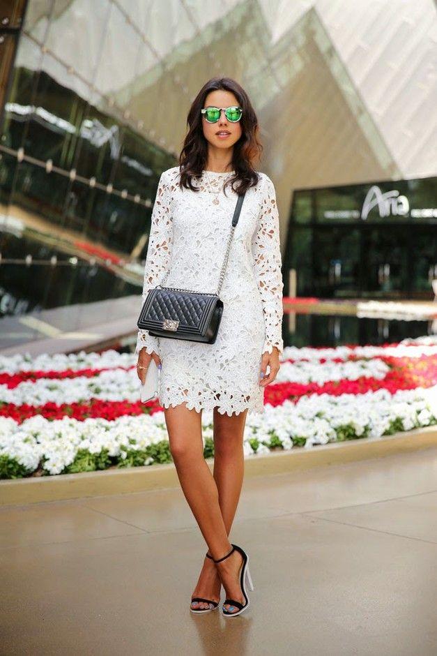 Branco vestido de renda Outfit