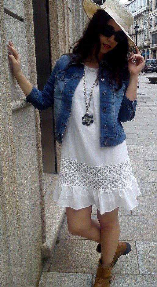Casual-chic vestido branco Outfit