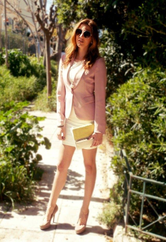 Sofisticada Idea branco do vestido de roupa com Rosa Blazer